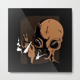 Smoking Alien Weed Metal Print
