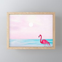 Pink flamingo on a beach Framed Mini Art Print