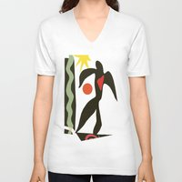 matisse V-neck T-shirts featuring Inspired to Matisse (vintage) by Chicca Besso