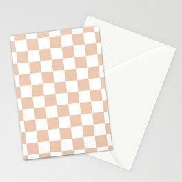 Checkered - White and Desert Sand Orange Stationery Cards