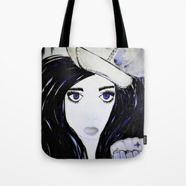 Girl with Black Hair and Hat. Blue Eyes Hand Painted by Jodi Tomer Tote Bag