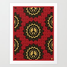 Peace Mandala Pattern Print Red Edition Art Print