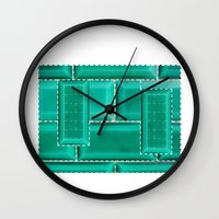 architecture Wall Clocks featuring ARCHITECTURE by BIGEHIBI