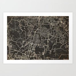 BRENTWOOD map Tennessee ink lines Art Print