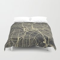 dallas Duvet Covers featuring Dallas map by Map Map Maps