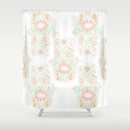 Modern girly pink mint gold Hamsa hand of fatima Shower Curtain
