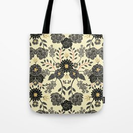 Gray, Black, Cream, Yellow & Red Sophisticated Floral Pattern Tote Bag