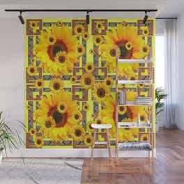 KANSAS WESTERN STYLE YELLOW SUNFLOWER FLORAL Wall Mural