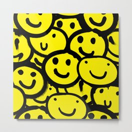 Smiley Face Yellow Metal Print