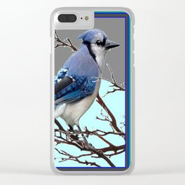 TEAL AMERICAN BLUE JAYS  GREY WINTER ART Clear iPhone Case