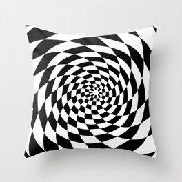 Optical Illusion Op Art Black and White Retro Style Throw Pillow