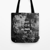 zappa Tote Bags featuring So many books, so little time by Jane Mathieu