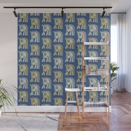 Mid Century Horse Pattern Blue Gold and Oyster Wall Mural