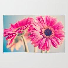 Acid Tongue, Pink Flower on Blue  Rug
