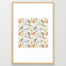 Cute Woodland Creatures Pattern Framed Art Print