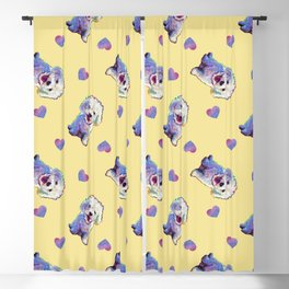 Cute BICHON FRISE Pattern on Pale Yellow Blackout Curtain