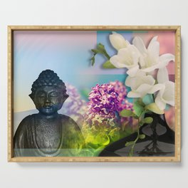 Colorful Buddha & Floral Collage Serving Tray