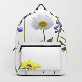 Flowers isolated on white background. Digital painting Backpack