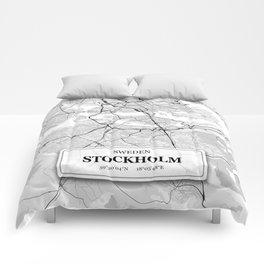 Stockholm Sweden City Map with GPS Coordinates Comforters
