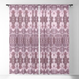 Burgundy Shibori Sheer Curtain