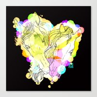 lovers Canvas Prints featuring LOVERS by i am gao