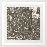london map Art Prints featuring London Map by Zeke Tucker