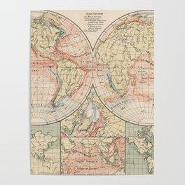 Vintage World Ocean Currents Map (1905) Poster