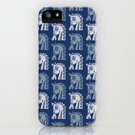 Mid Century Horse Pattern Blues iPhone Case
