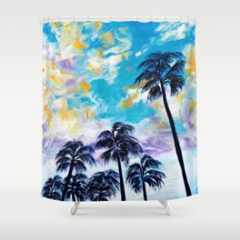 Oceanside Palm Trees Shower Curtain