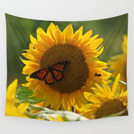 The butterfly the bee and the sunflower Wall Tapestry