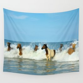 Wild Horses Swimming in Ocean Wall Tapestry