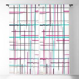 Abstract black hot pink teal geometrical stripes pattern Blackout Curtain