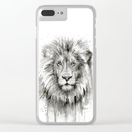 Lion Watercolor Clear iPhone Case
