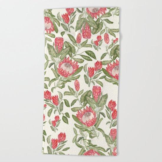 Protea Pattern Beach Towel