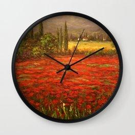 Red Poppy Fields of Tuscany Wall Clock