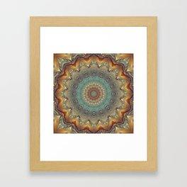 Indian Bohemian Flower Mandala Pattern, Gold Teal and Blue Framed Art Print