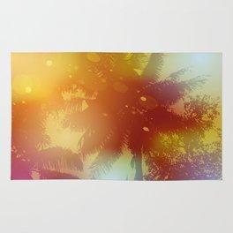 Sky, palm trees, sunset, sun glare Rug