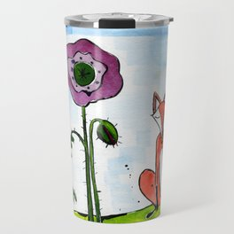 Fox with Poppies Travel Mug