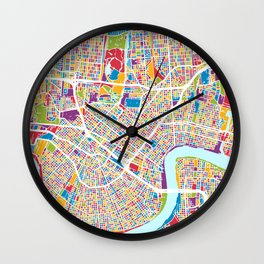 New Orleans Street Map Wall Clock