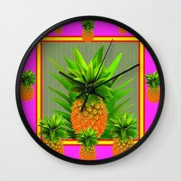 PINK HAWAIIAN PUNCH COLOR PINEAPPLE ART Wall Clock