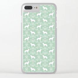 Australian Kelpie dog pattern silhouette mint florals minimal dog breed art gifts Clear iPhone Case