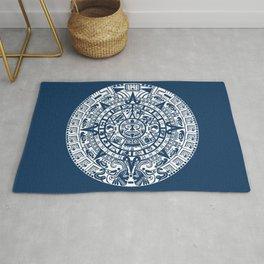 Mayan Calendar // Navy Blue Rug