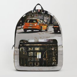 Impressionist and vintage street scene of Granville road in downtown Backpack