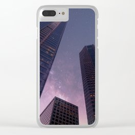 Sky-scraping to Space (Purple) Clear iPhone Case