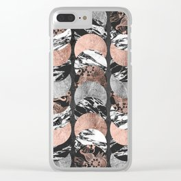 Marble Rose Gold Silver Floral and Black Circles Clear iPhone Case
