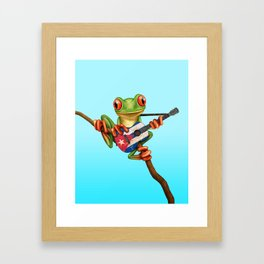 Tree Frog Playing Acoustic Guitar with Flag of Cuba Framed Art Print