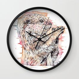 """The Inquisitive One"" watercolor otter design Wall Clock"