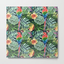Colorful diverse tropical seamless pattern of watercolor from leaves, fruits, flowers and birds Metal Print