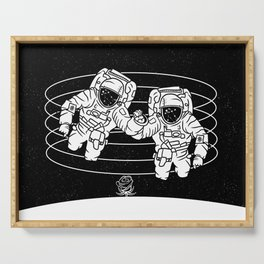 Astronaut black and white Gemini Serving Tray