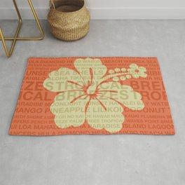 Summer Words Hawaiian Hibiscus Graphic Design Rug
